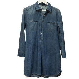UNIQLO denim shirt dress sz L collar + pockets!